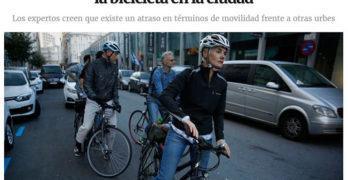 La doble fila, frecuente problema para la bici en A Coruña
