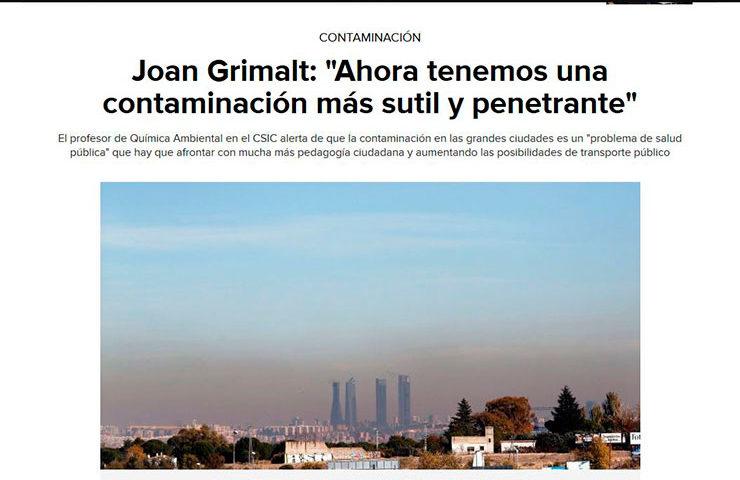 """Joan Grimalt: """"Ahora tenemos una contaminación más sutil y penetrante"""""""